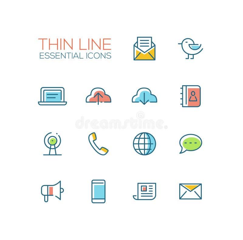 Simboli di tecnologia e della rete - linea spessa icone di progettazione messe illustrazione vettoriale