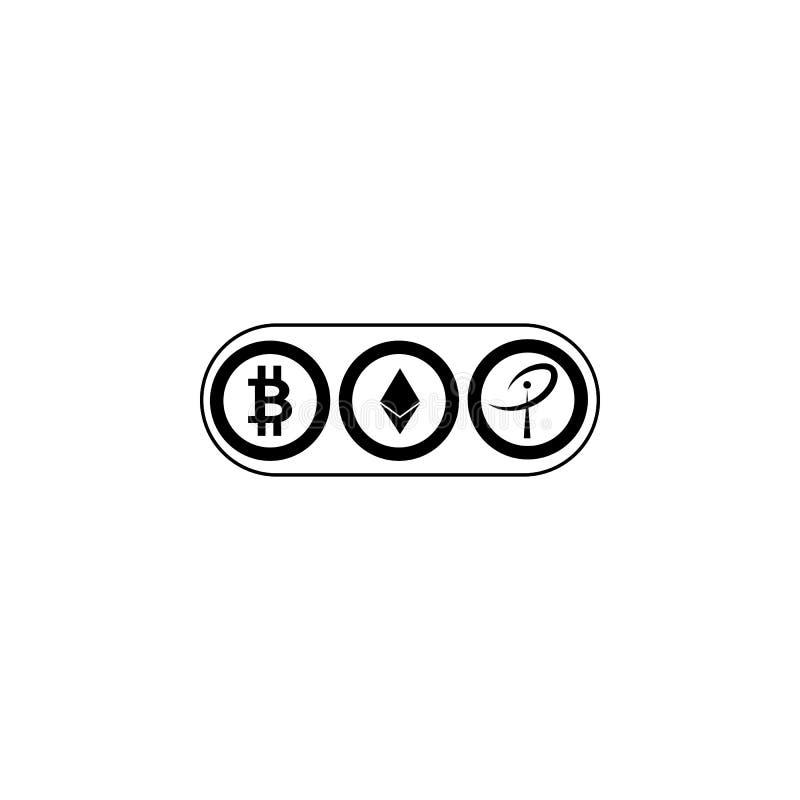 Simboli di valuta cripto mondiali Bitcoin, Ethereum, increspa le valute virtuali Nuova icona virtuale dei soldi royalty illustrazione gratis