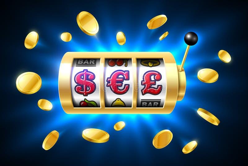 Simboli di valuta del dollaro, dell'euro e della sterlina sullo slot machine illustrazione di stock