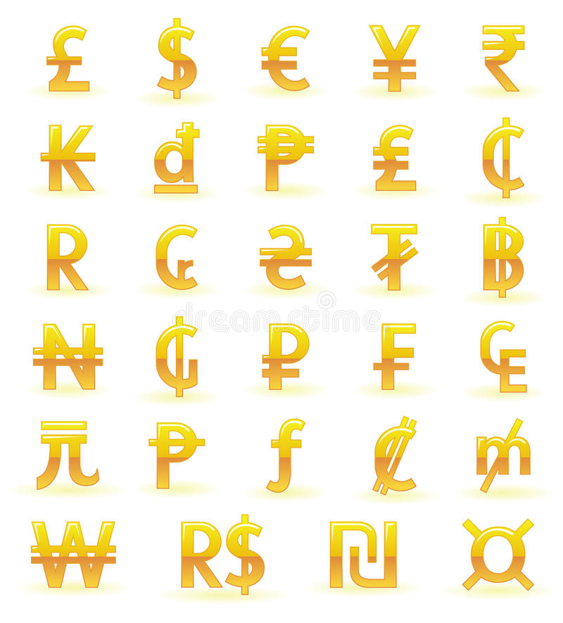 Simboli di valuta dorati royalty illustrazione gratis