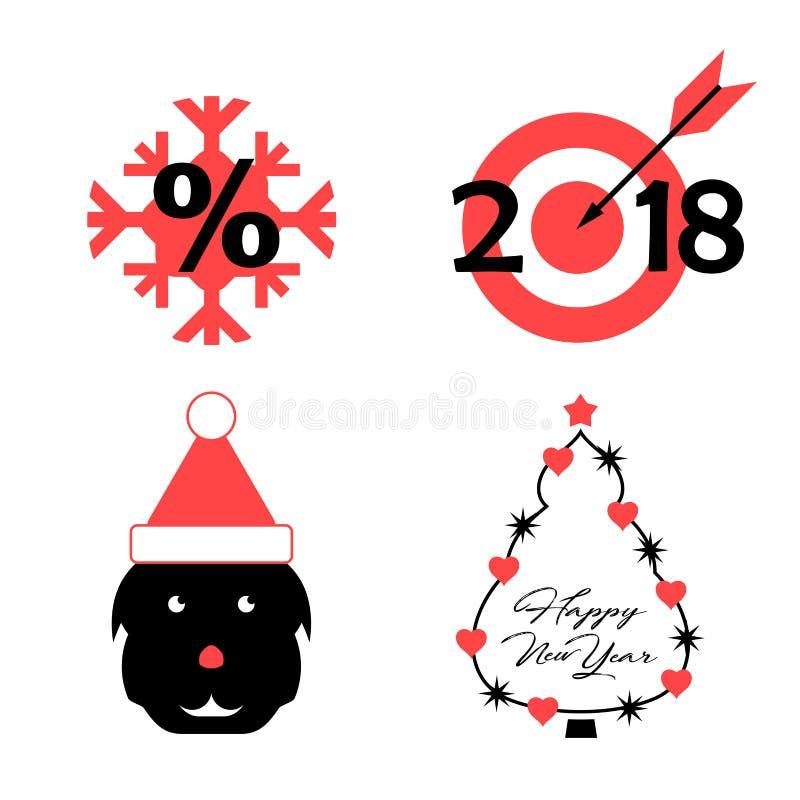 Simboli di vettore dei 2018 anni imminente del cane: Il fiocco di neve, obiettivo, cane, ha decorato l'albero di Natale Natale di royalty illustrazione gratis