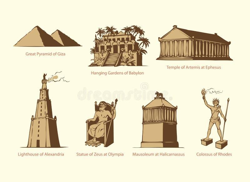 Simboli di vettore delle sette meraviglie del MONDO antico illustrazione di stock