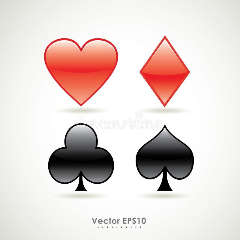 Simboli di vettore di gioco del segno della carta del poker illustrazione di stock