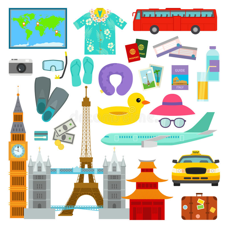 Simboli di vettore di vacanze estive di tempo di viaggio nell'illustrazione piana degli accessori delle icone di viaggio e di tur royalty illustrazione gratis