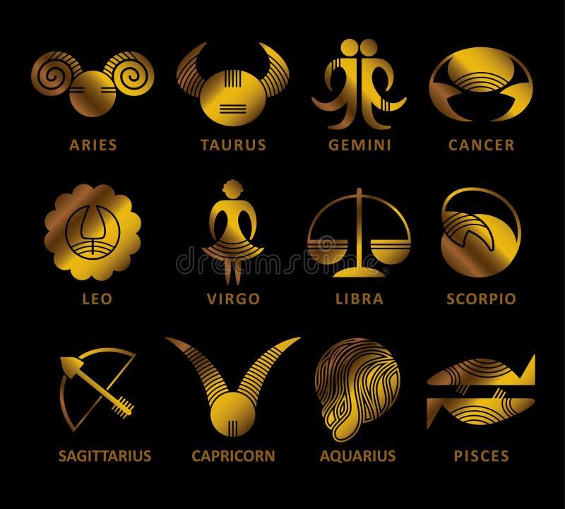 Simboli dorati dei segni dello zodiaco su un fondo nero illustrazione vettoriale