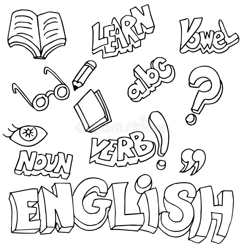 Simboli e oggetti inglesi di apprendimento illustrazione vettoriale