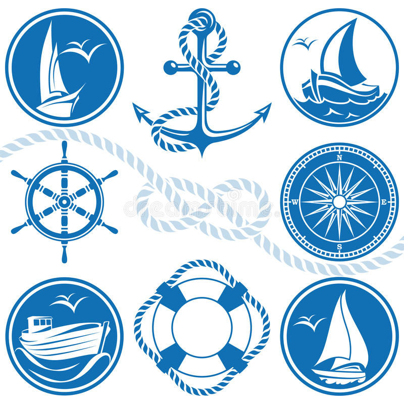 Simboli ed icone nautici royalty illustrazione gratis