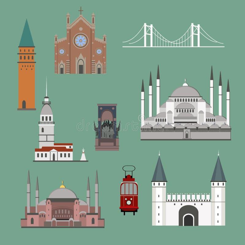 Simboli ed oggetti della Turchia del fumetto messi royalty illustrazione gratis
