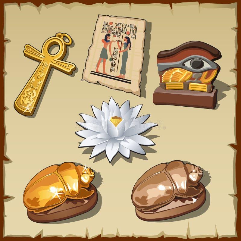 Simboli egiziani antichi e decorazioni royalty illustrazione gratis
