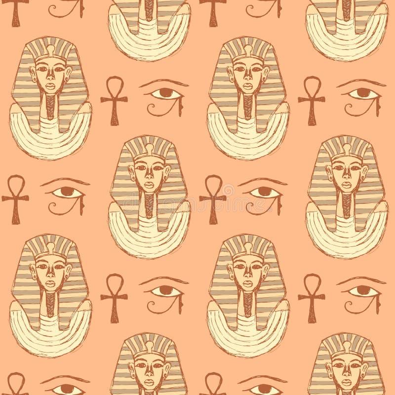 Simboli egiziani di schizzo nello stile d'annata illustrazione vettoriale