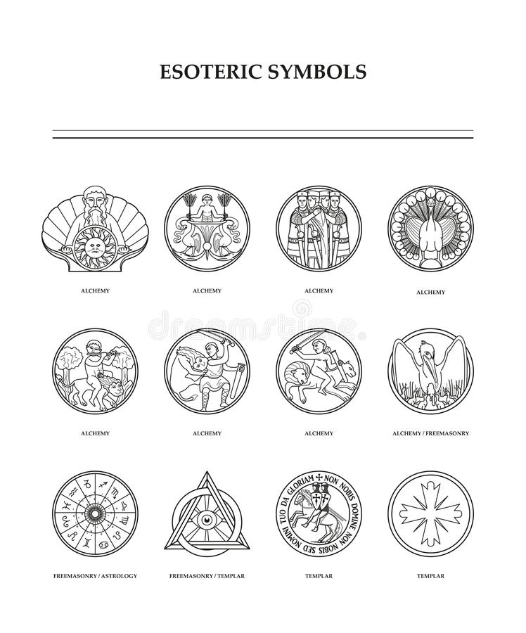 Simboli esoterici - alchemia immagine stock