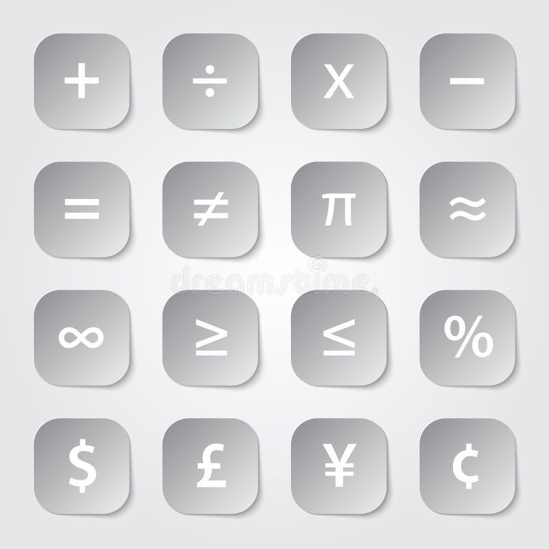 Simboli finanziari di per la matematica illustrazione vettoriale
