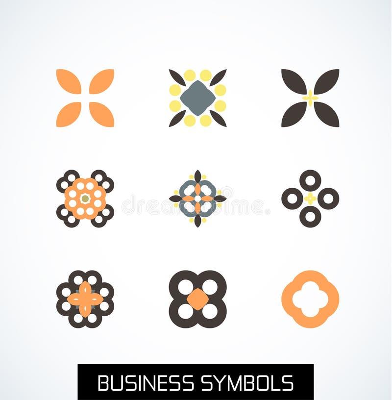 Simboli geometrici piani minimi di affari. Insieme dell'icona illustrazione di stock