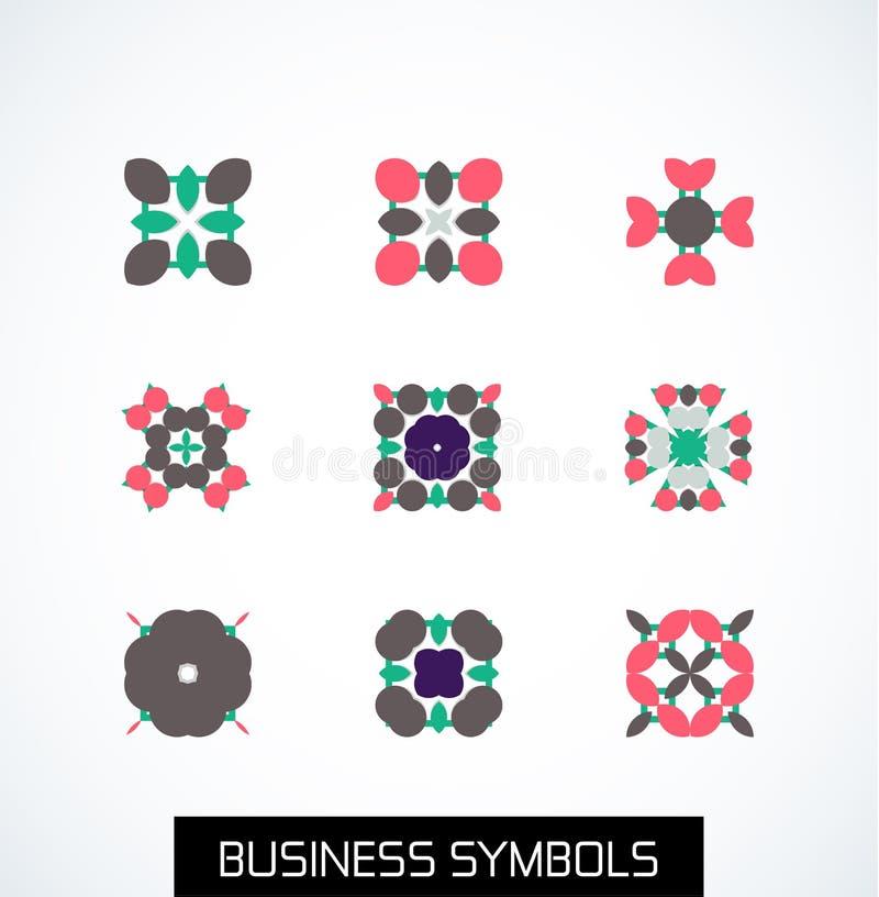 Simboli geometrici piani minimi di affari. Insieme dell'icona royalty illustrazione gratis