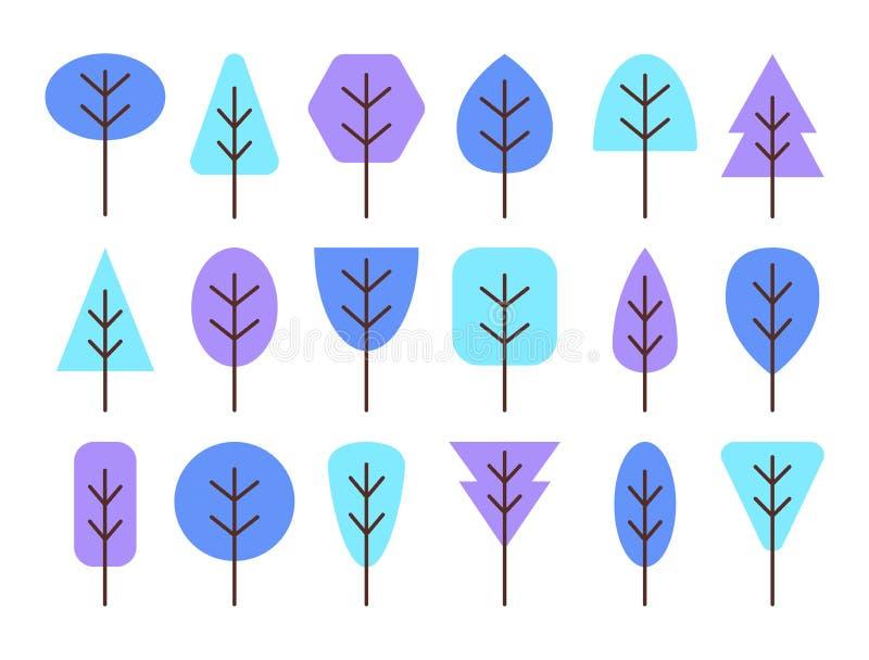Simboli geometrici semplici degli alberi Insieme piano dell'icona dell'inverno blu per illustrazione vettoriale