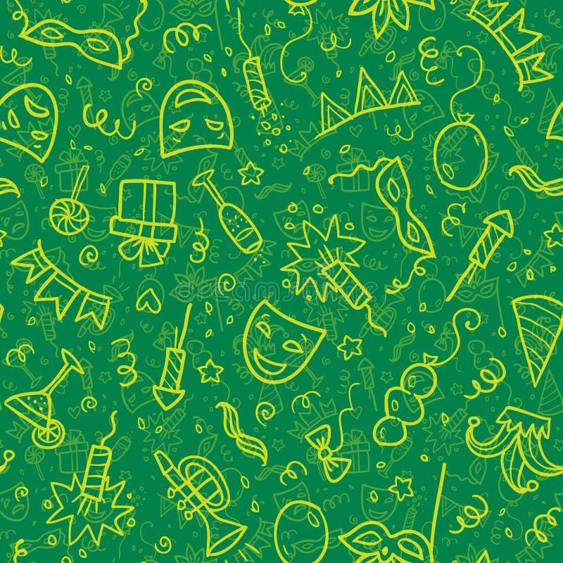 Simboli gialli di carnevale nello stile di scarabocchio su verde royalty illustrazione gratis