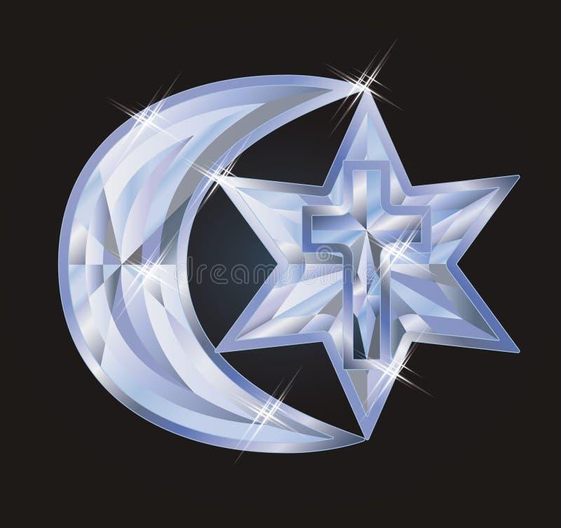 Simboli giudaismo, Cristianità, Islam del diamante illustrazione di stock