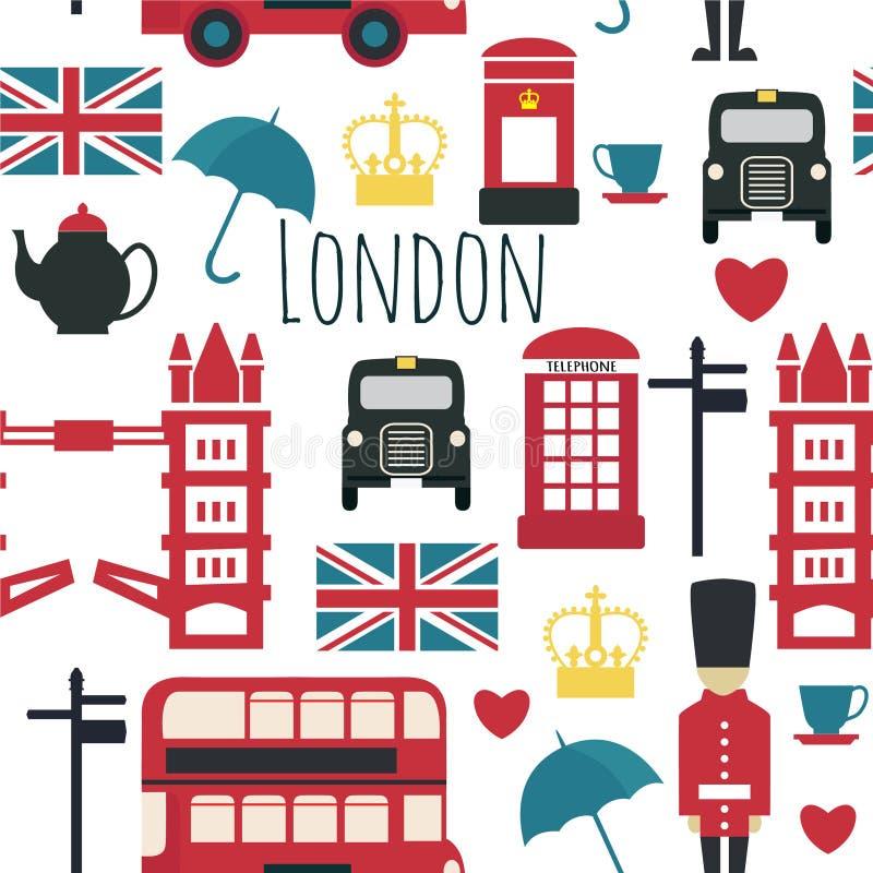 Simboli inglesi: taxi, contenitore di posta, telefono, teiera e tazza, doppio Decker Bus, lampada illustrazione di stock
