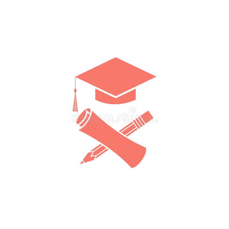 Simboli laureati diploma, matita, tocco, emblema di graduazione di logo di istruzione di cerimonia dello studente universitario illustrazione di stock
