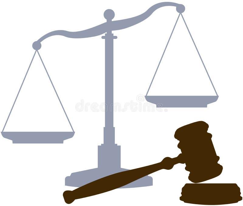 Simboli legali del sistema giuridico della giustizia del martelletto delle scale royalty illustrazione gratis