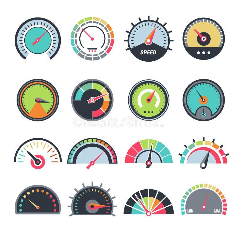 Simboli livellati di misura Raccolta infographic di simboli di vettore del combustibile di indicazione del calibro del tachimetro illustrazione vettoriale