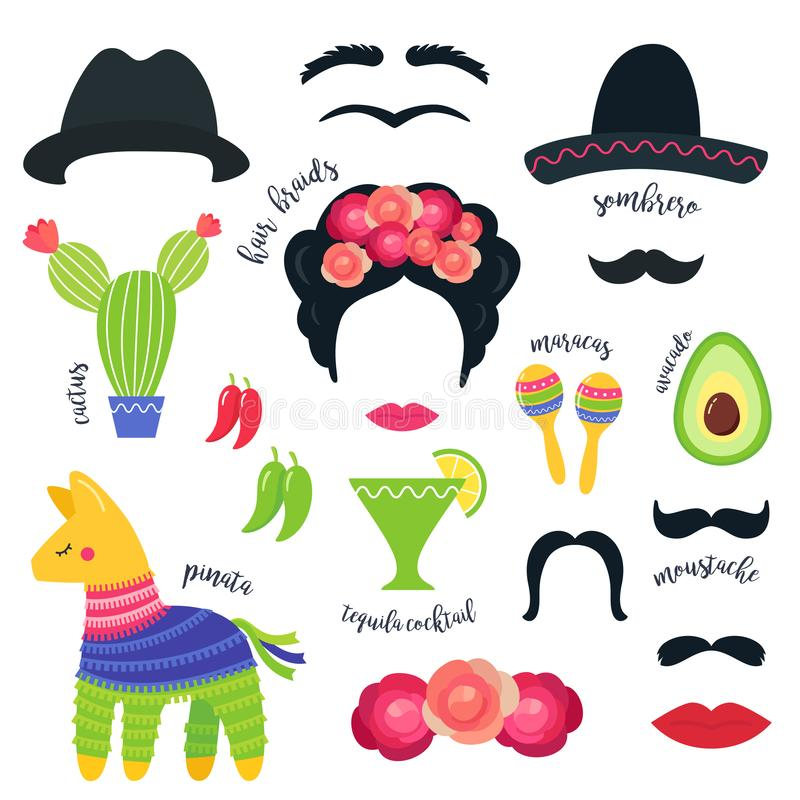 Simboli messicani del partito di festa e puntelli della cabina della foto Disegno di vettore illustrazione di stock