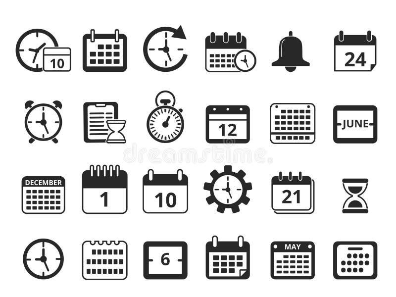 Simboli monocromatici differenti della gestione di tempo Insieme dell'icona di vettore illustrazione di stock