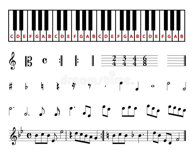 Simboli musicali dello strato illustrazione di stock