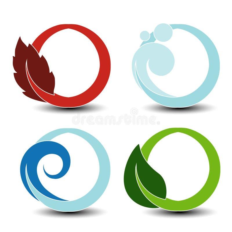 Simboli naturali - fuoco, aria, acqua, terra - elementi circolari della natura con la fiamma, l'aria della bolla, acqua dell'onda illustrazione di stock