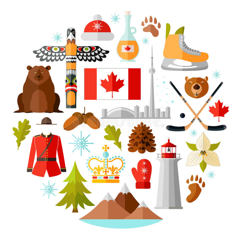 Simboli nazionali tradizionali del Canada Insieme delle icone canadesi Illustrazione di vettore nello stile piano illustrazione di stock