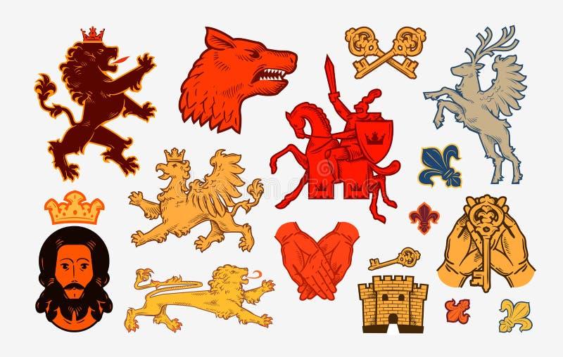 Simboli o icone medievali Logos di vettore della raccolta illustrazione vettoriale