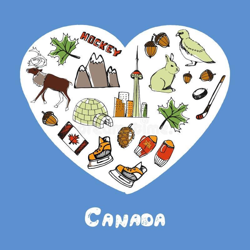 Simboli Pen Drawn Doodles Colorful Collection del Canada royalty illustrazione gratis