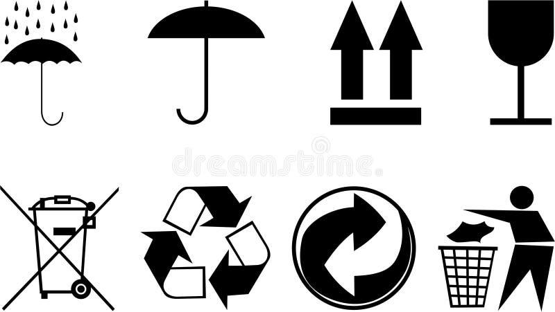 Simboli per gli oggetti dell'imballaggio. illustrazione di stock