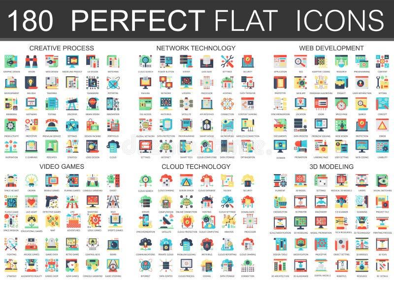 180 simboli piani complessi di concetto delle icone di vettore del processo creativo, tecnologia di rete, sviluppo di web, video  illustrazione di stock