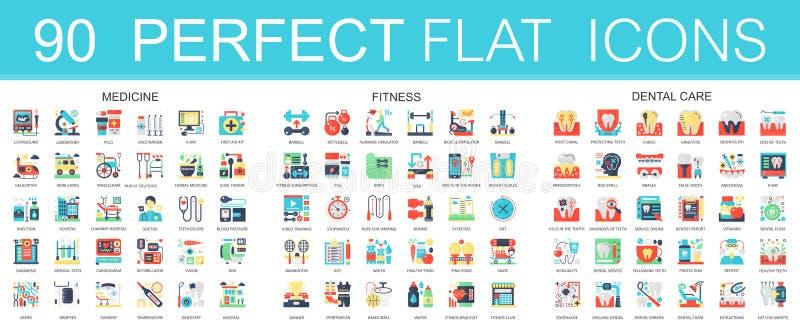 180 simboli piani complessi di concetto delle icone di vettore di medicina, forma fisica di sport, cure odontoiatriche Progettazi illustrazione di stock