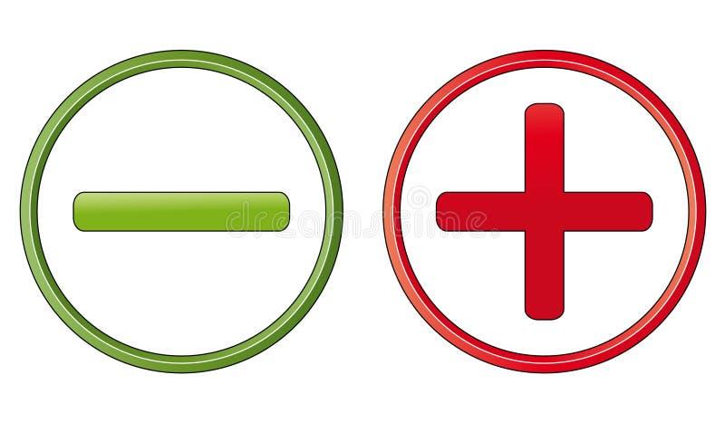 Simboli positivi e negativi royalty illustrazione gratis