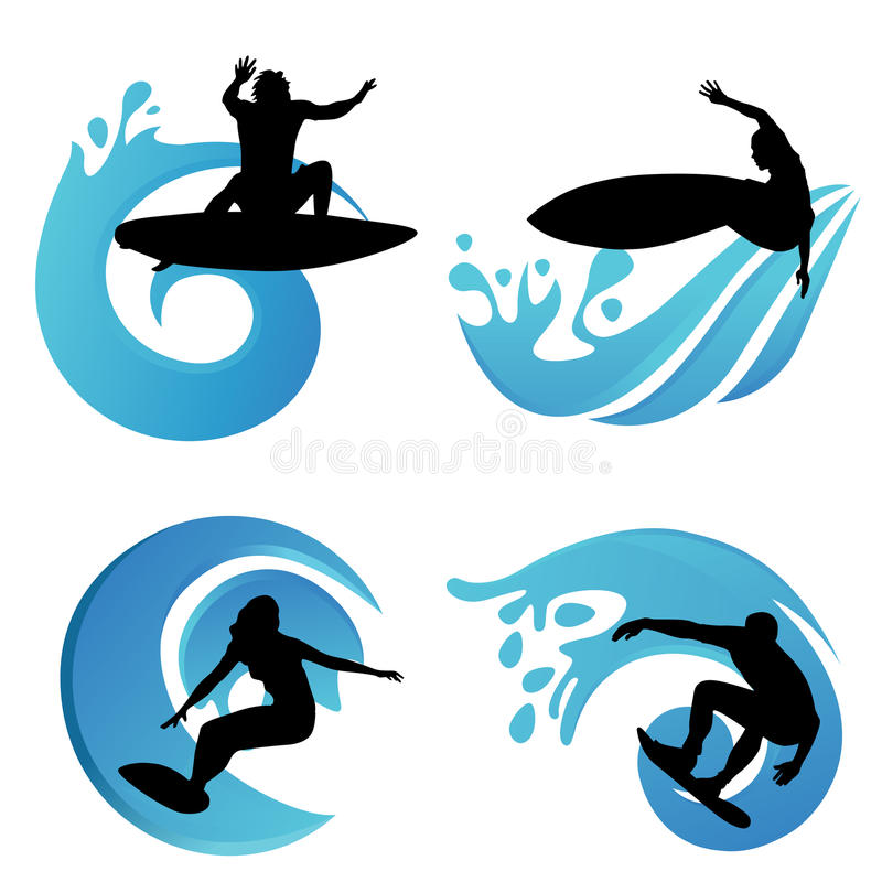 Simboli praticanti il surfing royalty illustrazione gratis