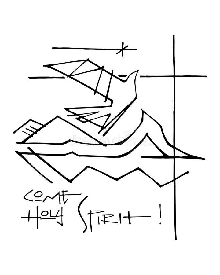 Simboli religiosi e frase di Spirito Santo illustrazione di stock