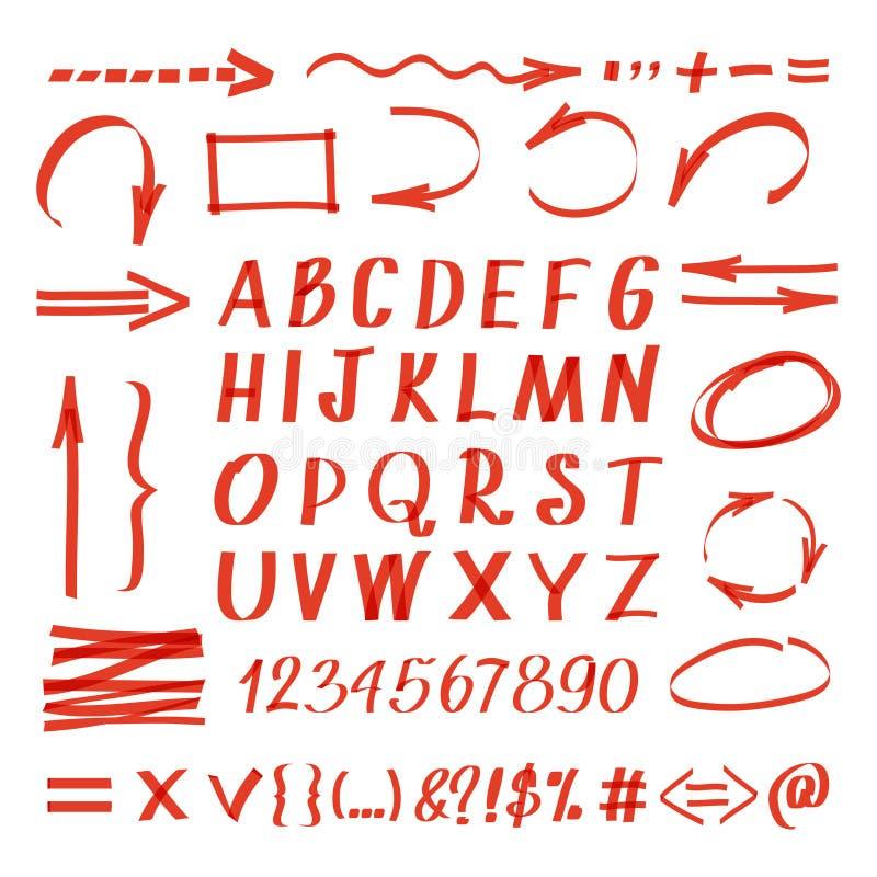 Simboli scritti della mano dell'indicatore Vector la linea frecce della penna ed i cerchi, numeri delle lettere royalty illustrazione gratis