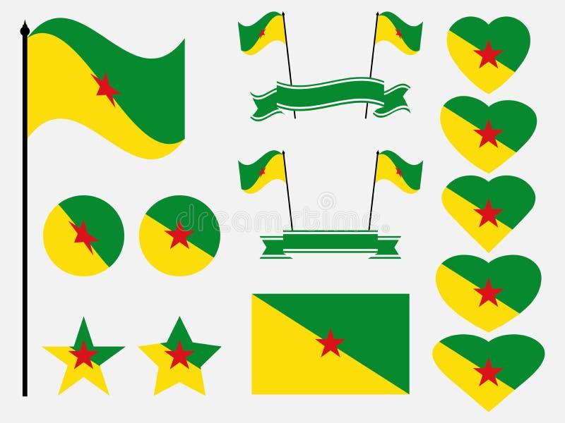 Simboli stabiliti della bandiera di Guiana francese, bandiera nel cuore Vettore royalty illustrazione gratis