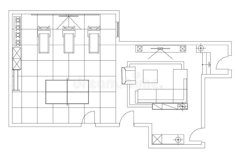 Simboli standard della mobilia utilizzati nell for Piani di fienile domestico