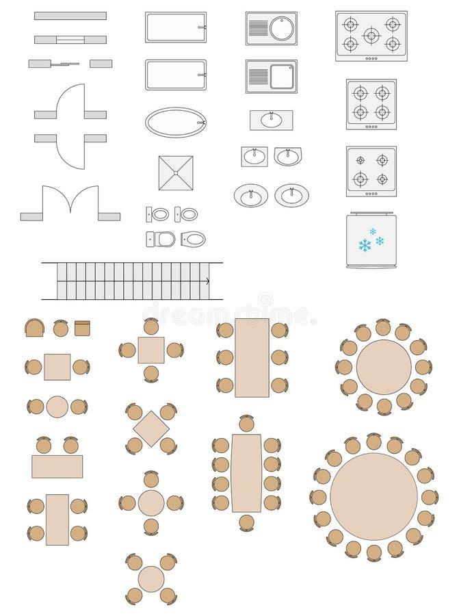 Simboli standard utilizzati nei piani di architettura illustrazione vettoriale