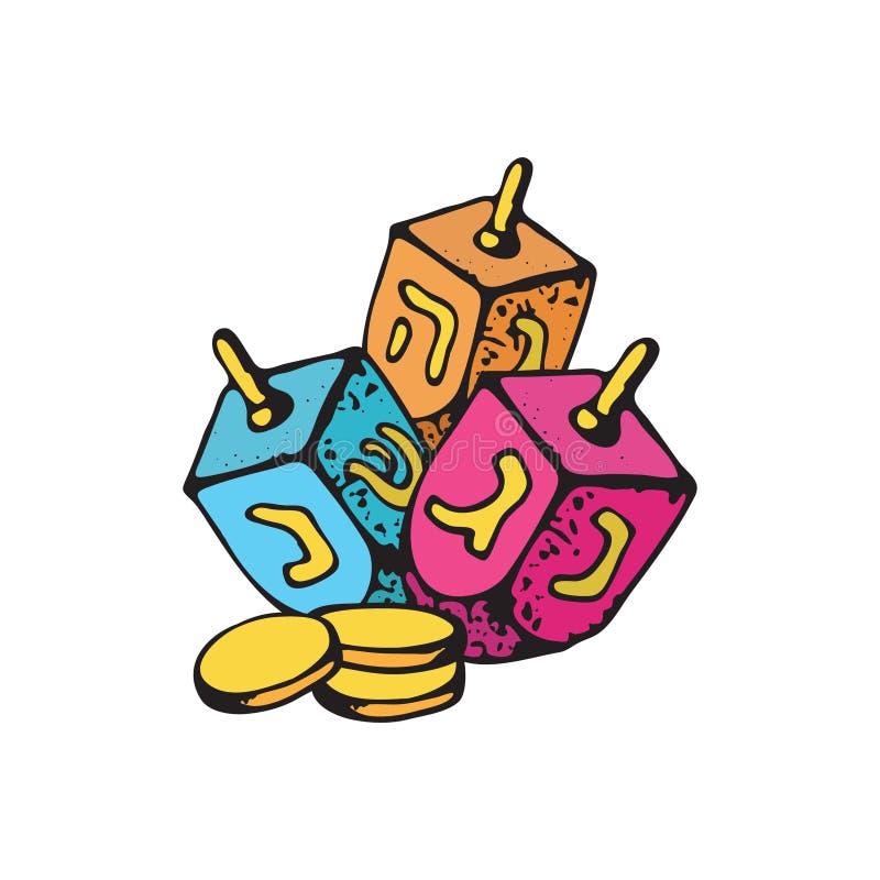 Simboli tradizionali di hanukkah isolati su fondo bianco - dreidels e monete di oro del cioccolato Ill ebreo di vettore di Chanuk illustrazione vettoriale