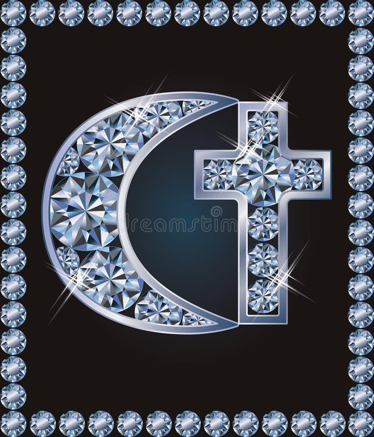 Simboli trasversali islamici del cristiano e della mezzaluna illustrazione vettoriale