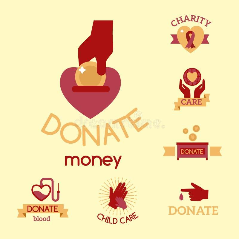 Simboli umanitari stabiliti di sostegno dell'aiuto di speranza della mano di consapevolezza delle icone di carità di vettore ross royalty illustrazione gratis