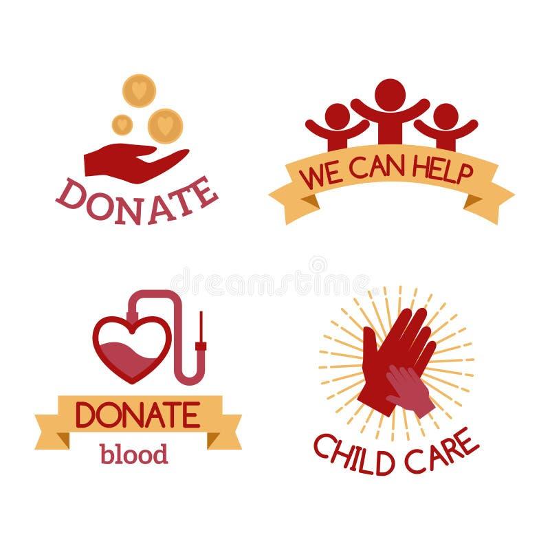 Simboli umanitari stabiliti di sostegno dell'aiuto di speranza della mano di consapevolezza delle icone di carità di vettore ross illustrazione di stock