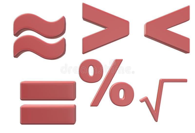 Simboli utilizzati nello studio elementare di base di matematica illustrazione vettoriale