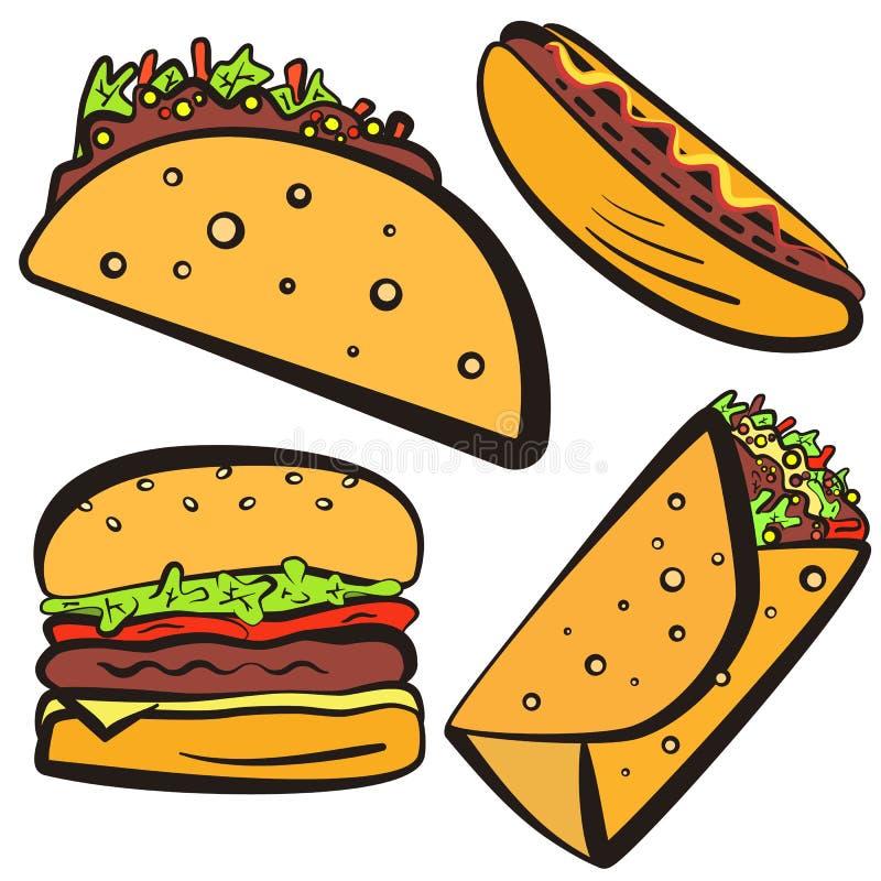 Simboli variopinti degli alimenti a rapida preparazione con l'insieme nero del profilo royalty illustrazione gratis
