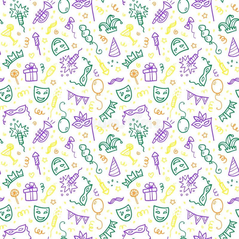 Simboli verdi, gialli e viola di carnevale dentro royalty illustrazione gratis