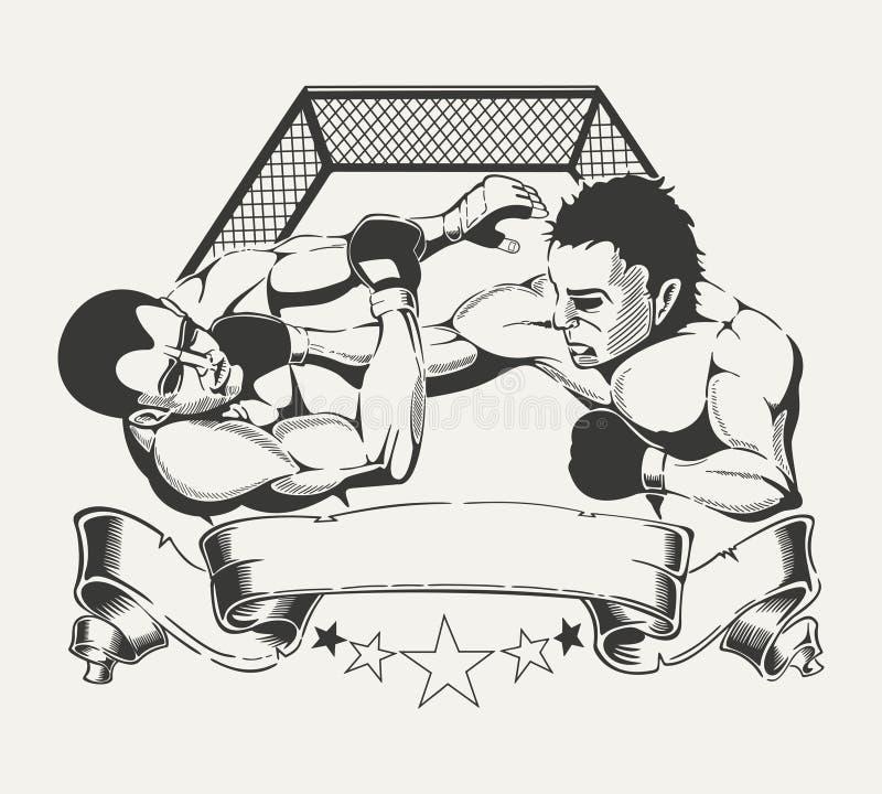Simbolice para el club de deportes con la imagen de dos ilustración del vector